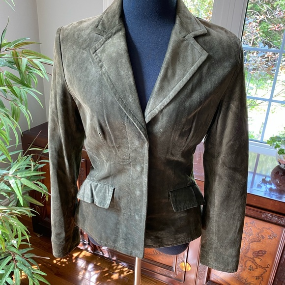 Green Suede Leather Blazer Jacket